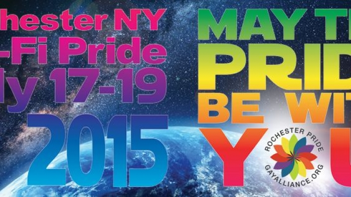 Poster that says Rochester NY Sci-Fi Pride July 17-19 2015 and May the Pride Be with You