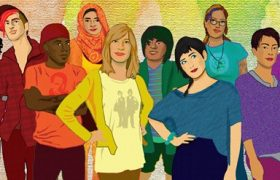Out Alliance youth. Illustration of people from a variety of backgrounds in a variety of colors