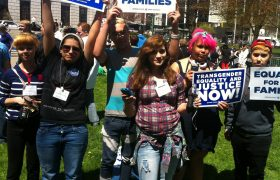 photo of young people with posters that say Transgender Equality and Justice now, and Equality for families