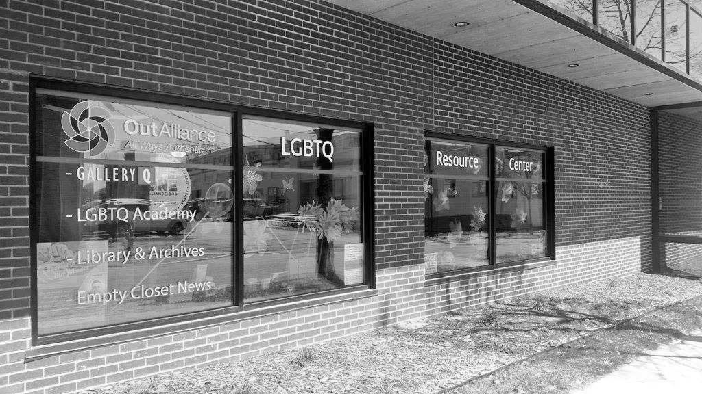 Black and white photo of the outside of the LGBTQ Resource Center