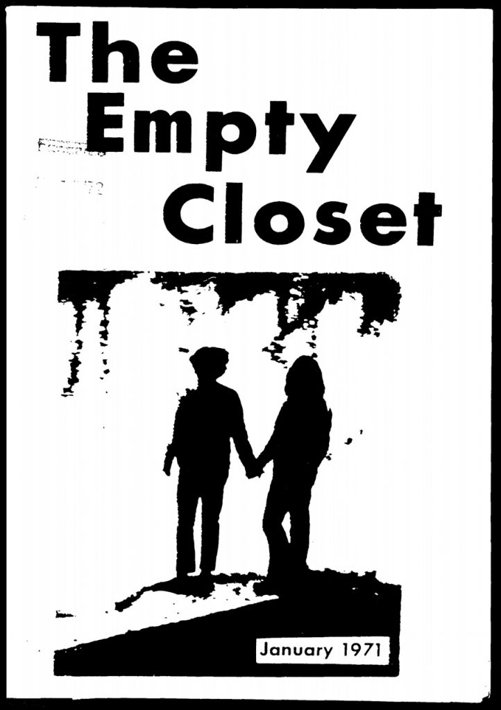 Empty Closet cover from January 1971 with illustration of 2 people holding hands