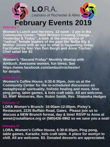 LORA February Poster events