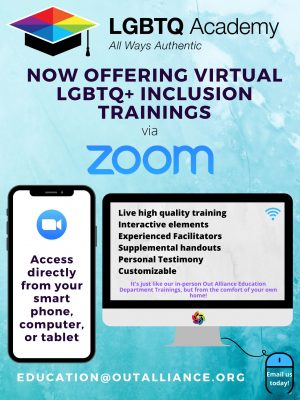 LGBTQ Academy offer of virtual inclusion trainings via Zoom flier